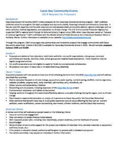 2019 Community Grants RFP - Casco Bay Estuary Partnership